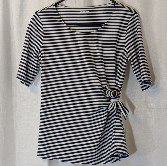 Lands' End Navy Striped Blouse Size Small